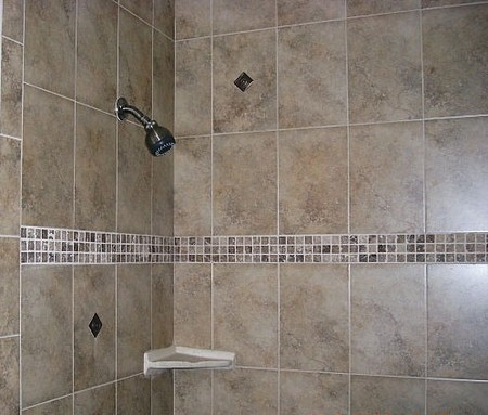 How to tile bathroom walls and shower tub area expert how for Bathroom wall tile designs photos
